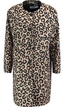 Love Moschino Leopard-Print Woven Cotton-Blend Coat