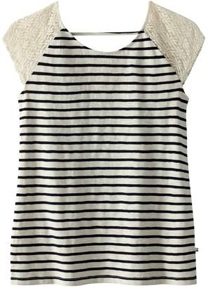 Le Temps Des Cerises Short-Sleeved Striped T-Shirt with Back Bow