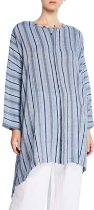 eskandar Fine-Line Striped Button-Front Tunic
