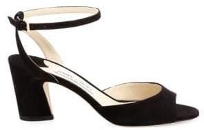 Jimmy Choo Miranda Suede Peep Toe Sandals