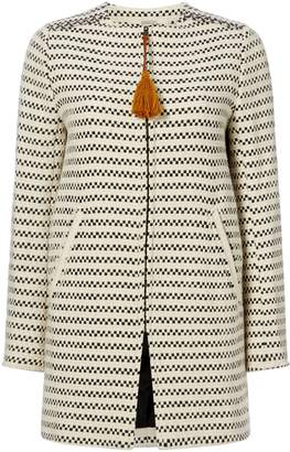 Sessun Collarless two tone woven coat