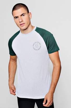boohoo Chest Print Raglan T-Shirt
