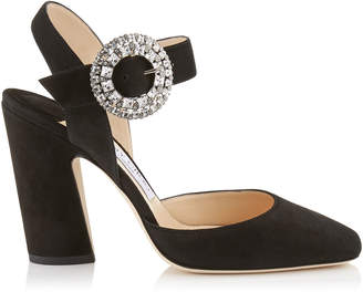 Jimmy Choo MATILDA 100 Black Suede Slingback Pumps with Crystal Buckle