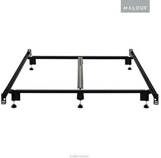 Malouf STRUCTURES STEELOCK Headboard-Footboard Super Duty Steel Wedge Lock Metal Bed Frame with Adjustable Height Glides - Functions as Bed Rails - Full