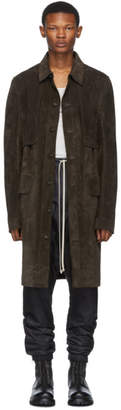 Rick Owens Brown Suede Trench Coat
