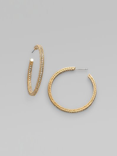 Adriana Orsini Pave Hoop Earrings/11⁄2