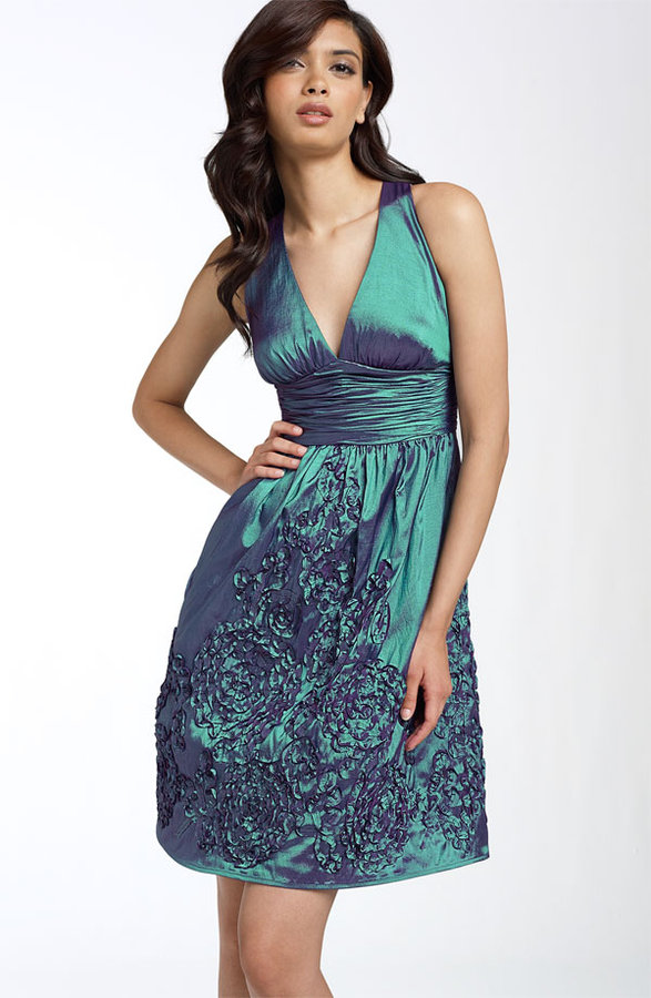 Adrianna Papell Rosette Halter Dress