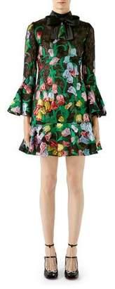 Gucci 3/4-Sleeve Bouquet Organza Cocktail Dress