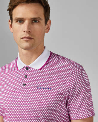 Ted Baker HAZELNT Cotton geo print golf polo shirt