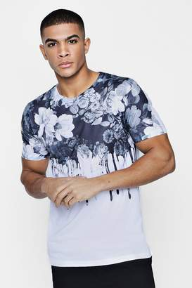 boohoo White Floral Drip Sublimation T-Shirt