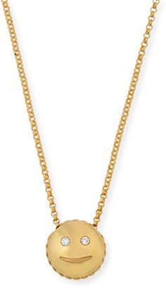 Roberto Coin Tiny Treasures Smiley Emoji Pendant Necklace with Diamonds