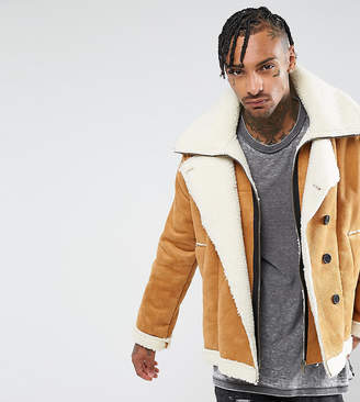 The New County Double Layered Biker Jacket In Faux Shearling