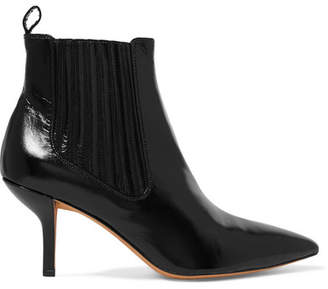 Diane von Furstenberg Mollo Leather Ankle Boots - Black