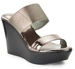 Charles by Charles David Fighter Metallic Leather Platform Wedge Sandals