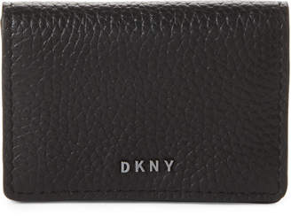 DKNY Black Leather Snap Card Case