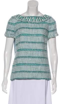 Tory Burch Tweed Short Sleeve Top