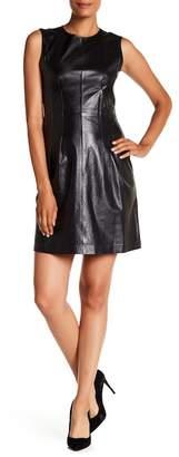 Theory Mixed Media Leather Tank Dress