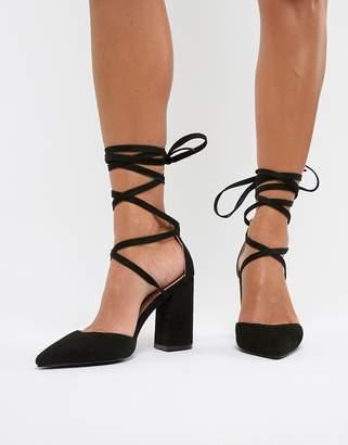 Raid black pointed tie up block heeled shoes