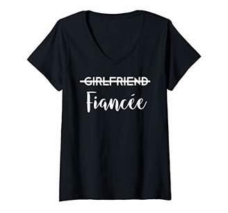 Womens Girlfriend Fiancee Shirt Engagement Gift Her Women Couples V-Neck T-Shirt
