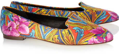 Printed twill slippers