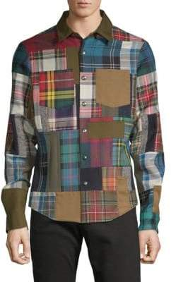 Valentino Plaid Long-Sleeve Button-Down Shirt