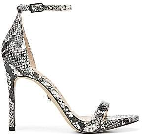 04e70733803f Sam Edelman Women s Ariella Leather Snake-Print Stiletto Sandals