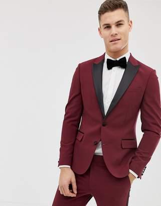 Asos Design DESIGN skinny tuxedo suit jacket in plum