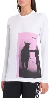 DSQUARED2 Pink Photo Print Long Sleeves Tee