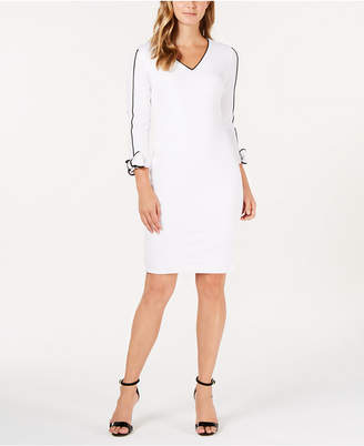 Calvin Klein V-Neck Piped Sheath Dress