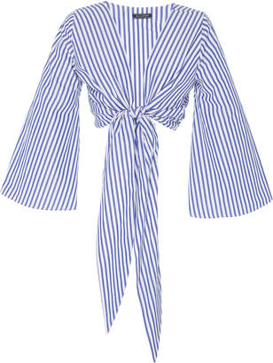 MDS Stripes M'O Exclusive Everything Tie-Front Cotton Top