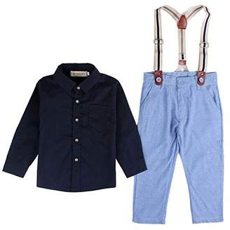 EGELEXY Baby Boy Long Sleeve T-Shirt Suspender Straps and Pants Clothing Sets Outfit (Tag Size:100)
