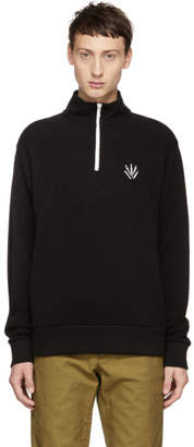 Rag & Bone Black Pique Zip-Up Sweater