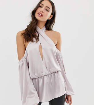 Asos Tall DESIGN Tall halter long sleeve top with off shoulder detail