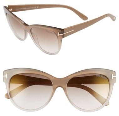 Women's Tom Ford 'Lily' 56Mm Cat Eye Sunglasses - Beige/ Brown Mirror