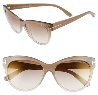 Women's Tom Ford 'Lily' 56Mm Cat Eye Sunglasses - Beige/ Brown Mirror $390 thestylecure.com