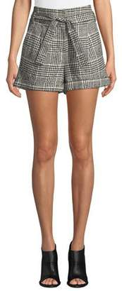 Veronica Beard Michel High-Waist Belted Plaid Shorts