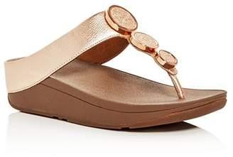 FitFlop Halo Embellished Metallic Platform Thong Sandals