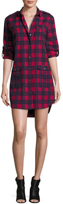 ATM Anthony Thomas Melillo Long-Sleeve Flannel Plaid Shirtdress, Red/Blue $395 thestylecure.com