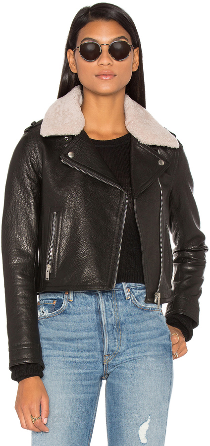 Doma DOMA Detachable Lamb Shearling Fur Collar Aviator Moto Jacket