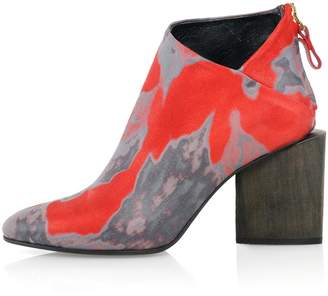 Kim Kwang - Watercolour Effect Ankle Boot Red