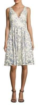 Aidan Mattox Embroidered Fit-&-Flare Dress