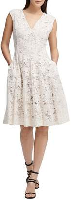 Donna Karan Fit-and-Flare Lace Dress