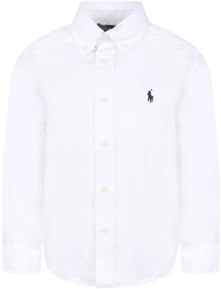 Ralph Lauren White Boy Shirt With Blue Iconic Pony