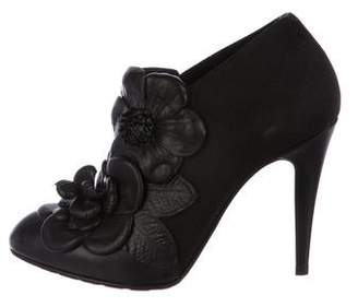 Valentino Leather Floral Booties