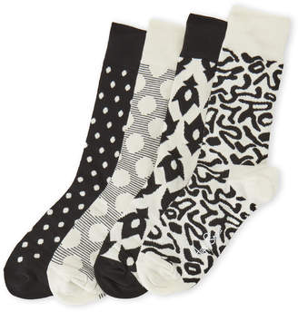 Happy Socks 4-Pack Black & White Dots Sock Gift Box