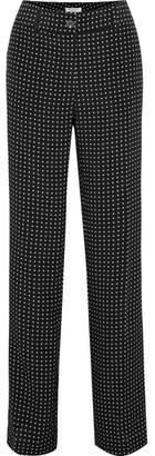 Equipment Lita Polka-dot Silk-twill Wide-leg Pants - Black