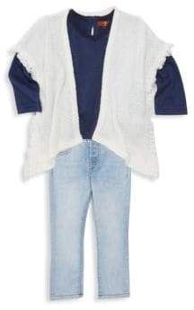 7 For All Mankind Baby Girl's Three-Piece Poncho, T-Shirt & Jeans Set