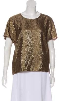 Lanvin Short Sleeve Metallic Top