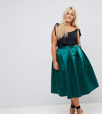 Closet London Plus Full Prom Sateen Midi Skirt