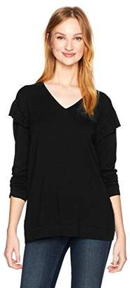 Calvin Klein Women's V-Neck Sweater with Ruffle at Sleeve